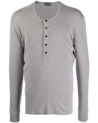 graues Langarmshirt mit einer Knopfleiste von Tom Ford