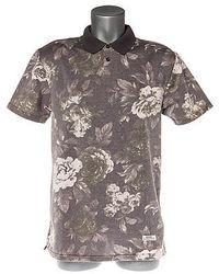 graues Polohemd mit Blumenmuster