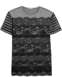 graues Spitze T-shirt von Miu Miu