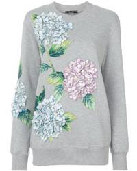graues Sweatshirt mit Blumenmuster von Dolce & Gabbana
