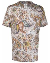 graues T-Shirt mit einem Rundhalsausschnitt mit Paisley-Muster von Etro