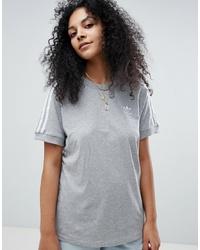 graues T-Shirt mit einem Rundhalsausschnitt von adidas Originals