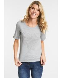 graues T-Shirt mit einem Rundhalsausschnitt von Cecil