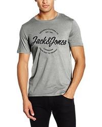 graues T-Shirt mit einem Rundhalsausschnitt von Jack & Jones