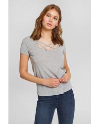 graues T-Shirt mit einem Rundhalsausschnitt von OXXO
