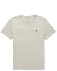 graues T-Shirt mit einem Rundhalsausschnitt von Polo Ralph Lauren