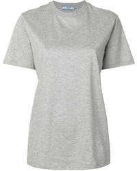 graues T-Shirt mit einem Rundhalsausschnitt von Prada