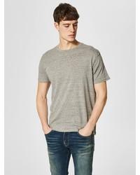 graues T-Shirt mit einem Rundhalsausschnitt von Selected Homme