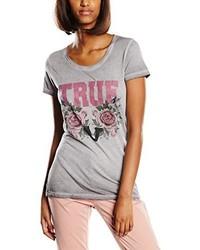 graues T-Shirt mit einem Rundhalsausschnitt von True Religion