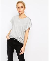 graues T-Shirt mit einem Rundhalsausschnitt von Weekday