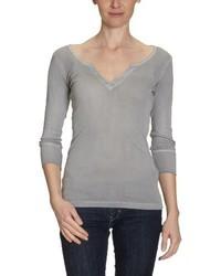 graues T-Shirt mit einem V-Ausschnitt von Blaumax