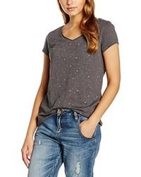 graues T-Shirt mit einem V-Ausschnitt von edc by Esprit