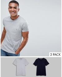 graues T-Shirt mit einem V-Ausschnitt von French Connection