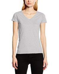graues T-Shirt mit einem V-Ausschnitt von Fruit of the Loom
