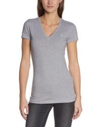 graues T-Shirt mit einem V-Ausschnitt von G-Star Raw