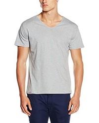 graues T-Shirt mit einem V-Ausschnitt von HÄRVIST