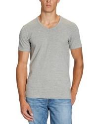 graues T-Shirt mit einem V-Ausschnitt von Jack & Jones
