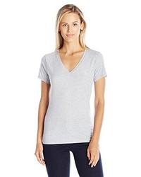 graues T-Shirt mit einem V-Ausschnitt von Juicy Couture