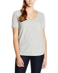 graues T-Shirt mit einem V-Ausschnitt von Maison Scotch
