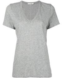 graues T-Shirt mit einem V-Ausschnitt von Rag & Bone