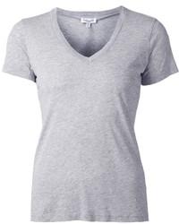 graues T-Shirt mit einem V-Ausschnitt von Splendid