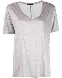 graues T-Shirt mit einem V-Ausschnitt von The Row