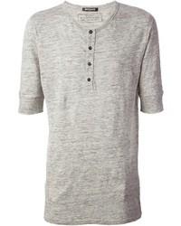 graues T-shirt mit einer Knopfleiste von Balmain