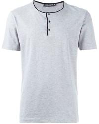 graues T-shirt mit einer Knopfleiste von Dolce & Gabbana