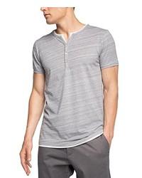 graues T-shirt mit einer Knopfleiste von Esprit