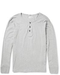 graues T-shirt mit einer Knopfleiste von Gant