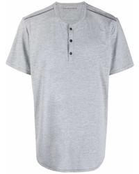 graues T-shirt mit einer Knopfleiste von John Varvatos