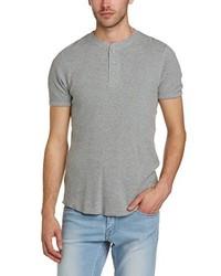 graues T-shirt mit einer Knopfleiste von Levi's
