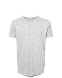 graues T-shirt mit einer Knopfleiste von Majestic Filatures