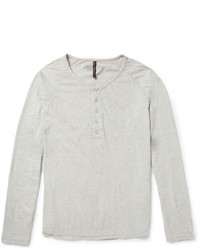 graues T-shirt mit einer Knopfleiste von Nudie Jeans