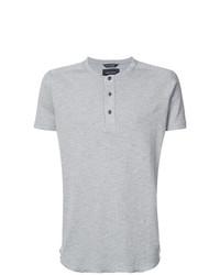 graues T-shirt mit einer Knopfleiste von Wings + Horns