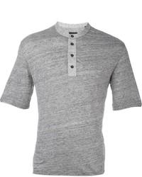 graues T-shirt mit einer Knopfleiste von Z Zegna