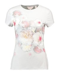 graues T-Shirt mit einem Rundhalsausschnitt mit Blumenmuster von Ted Baker
