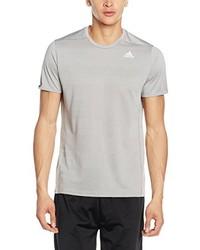 graues T-Shirt mit einem Rundhalsausschnitt von adidas