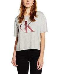 graues T-Shirt mit einem Rundhalsausschnitt von Calvin Klein Jeans