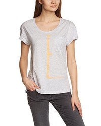 graues T-Shirt mit einem Rundhalsausschnitt von Mustang
