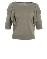 graues T-Shirt mit einem Rundhalsausschnitt von Noisy May