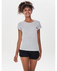 graues T-Shirt mit einem Rundhalsausschnitt von Only