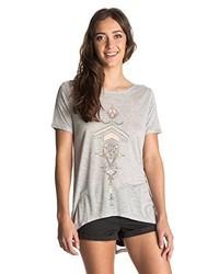 graues T-Shirt mit einem Rundhalsausschnitt von Roxy