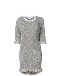 graues Tweed gerade geschnittenes Kleid