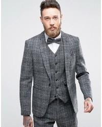 graues Tweed Sakko mit Karomuster
