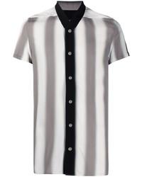 graues vertikal gestreiftes Kurzarmhemd von Rick Owens