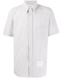 graues vertikal gestreiftes Kurzarmhemd von Thom Browne