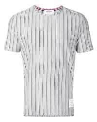 graues vertikal gestreiftes T-Shirt mit einem Rundhalsausschnitt von Thom Browne