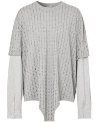 graues verziertes Langarmshirt von Burberry