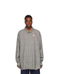 graues Wolllangarmhemd mit Schottenmuster von Gucci